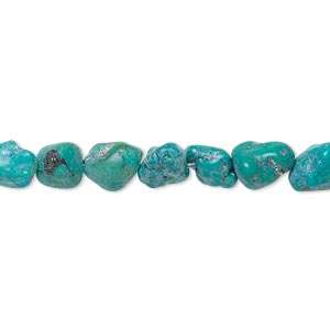 bead, turquoise (dyed / stabilized), blue-green, mini to small nugget, mohs hardness 5 to 6. sold per 15-inch strand.