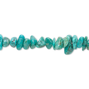 bead, turquoise (dyed / stabilized), blue-green, small chip, mohs hardness 5 to 6. sold per 16-inch strand.