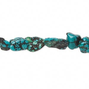 bead, turquoise (dyed / stabilized), blue-green, small nugget, mohs hardness 5 to 6. sold per 15-inch strand.