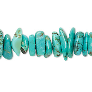bead, turquoise (dyed / stabilized), blue, large chip, mohs hardness 5 to 6. sold per 16-inch strand.