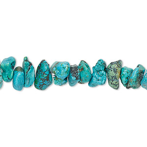 bead, turquoise (dyed / stabilized), blue, medium chip, mohs hardness 5 to 6. sold per 16-inch strand.