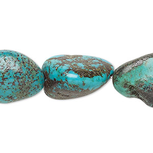 bead, turquoise (dyed / stabilized), blue, medium to large nugget, mohs hardness 5 to 6. sold per 16-inch strand.