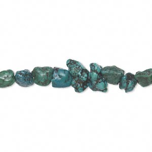 bead, turquoise (dyed / stabilized), blue, mini nugget, mohs hardness 5 to 6. sold per 15-inch strand.