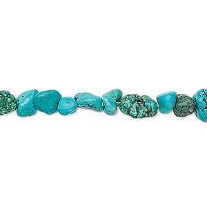 bead, turquoise (dyed / stabilized), blue, mini nugget, mohs hardness 5 to 6. sold per 16-inch strand.