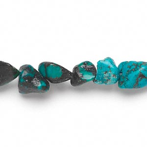 bead, turquoise (dyed / stabilized), blue, small to medium nugget, mohs hardness 5 to 6. sold per 15-inch strand.