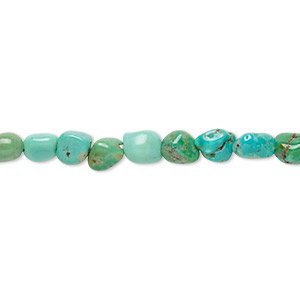bead, turquoise (dyed / stabilized), blue, small to medium pebble, mohs hardness 5 to 6. sold per 15-inch strand.