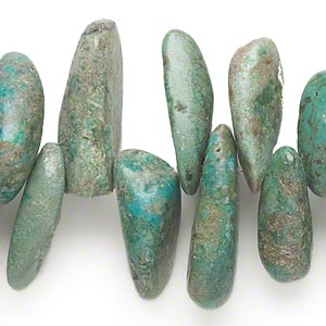 bead, turquoise (dyed / stabilized), gigantic top-drilled hawaiian chip, mohs hardness 5 to 6. sold per 16-inch strand.