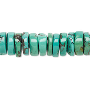 bead, turquoise (dyed / stabilized), green, 11x2mm-13x5mm heishi, b- grade, mohs hardness 5 to 6. sold per 16-inch strand.