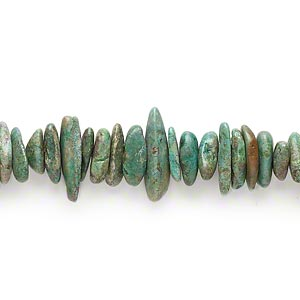 bead, turquoise (dyed / stabilized), green-brown, extra-large chip, mohs hardness 5 to 6. sold per 16-inch strand.