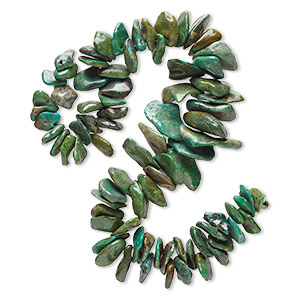 bead, turquoise (dyed / stabilized), green-brown, extra-large to gigantic graduated chip, mohs hardness 5 to 6. sold per 15-inch strand.