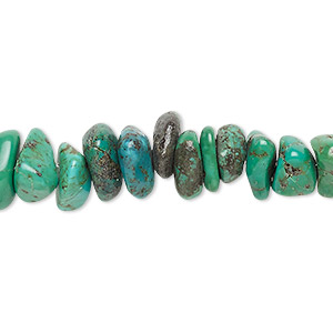 bead, turquoise (dyed / stabilized), green-brown, large chip, mohs hardness 5 to 6. sold per 16-inch strand.