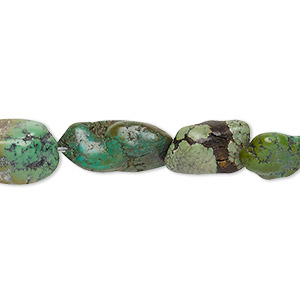 bead, turquoise (dyed / stabilized), green-brown, mini to medium hand-cut nugget, mohs hardness 5 to 6. sold per 15-inch strand.