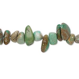 bead, turquoise (dyed / stabilized), green-brown, top-drilled large chip and mini to small nugget, mohs hardness 5 to 6. sold per 15-inch strand.