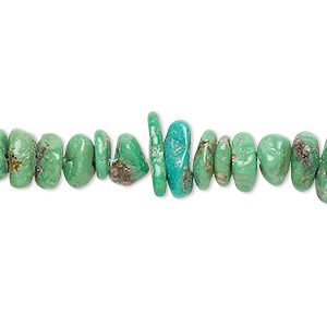 bead, turquoise (dyed / stabilized), green, medium chip, mohs hardness 5 to 6. sold per 16-inch strand.