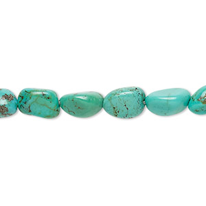 bead, turquoise (dyed / stabilized), green, mini to small nugget, mohs hardness 5 to 6. sold per 16-inch strand.
