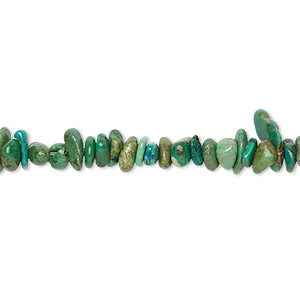 bead, turquoise (dyed / stabilized), green, small chip and small to medium pebble, mohs hardness 5 to 6. sold per 15-inch strand.