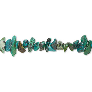 bead, turquoise (dyed / stabilized), green, small chip, mohs hardness 5 to 6. sold per 15-inch strand.