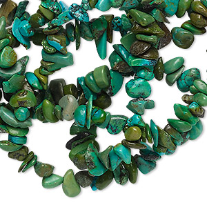 bead, turquoise (dyed / stabilized), green, small chip, mohs hardness 5 to 6. sold per 34-inch strand.