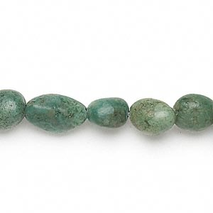 bead, turquoise (dyed / stabilized), green, small to extra-large pebble, mohs hardness 5 to 6. sold per 15-inch strand.