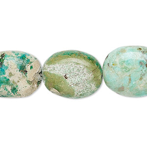 bead, turquoise (dyed / stabilized), light blue-green, medium to large flat nugget, mohs hardness 5 to 6. sold per 8-inch strand.