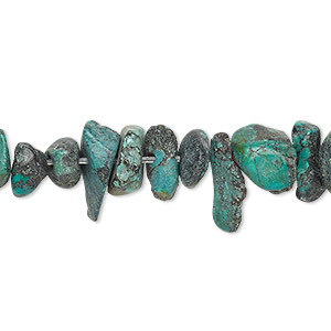 bead, turquoise (dyed / waxed), blue-green, medium chip, mohs hardness 5 to 6. sold per 15-inch strand.