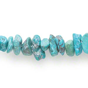 bead, turquoise (dyed / waxed), blue, large chip, mohs hardness 5 to 6. sold per 15-inch strand.
