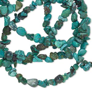 bead, turquoise (dyed / waxed), medium chip and mini to small nugget, mohs hardness 5 to 6. sold per 32-inch strand.