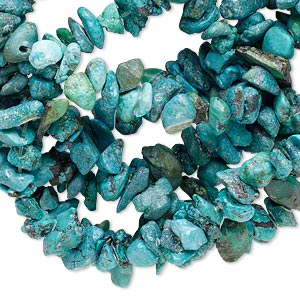 bead, turquoise (dyed / waxed), small chip, mohs hardness 5 to 6. sold per 32-inch strand.
