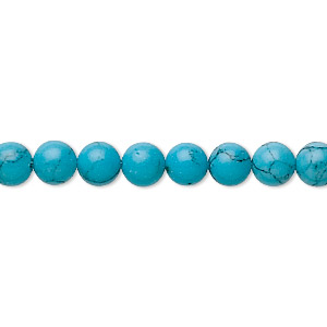 bead, turquoise (imitation), 6mm round. sold per 16-inch strand.