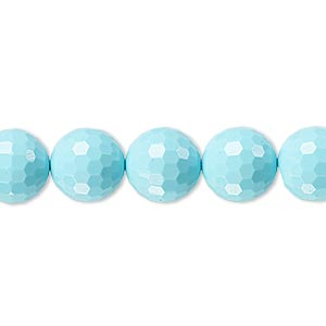 bead, turquoise (imitation), blue, 10mm faceted round. sold per 8-inch strand, approximately 20 beads.
