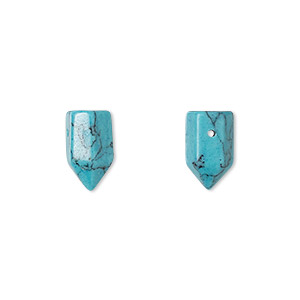 bead, turquoise (imitation), blue, 12x6mm hand-cut point. sold per pkg of 2.