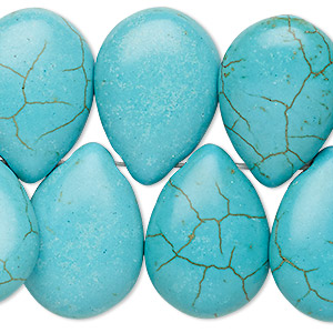 bead, turquoise (imitation), blue, 25x18mm-30x20mm top-drilled puffed teardrop. sold per 8-inch strand.