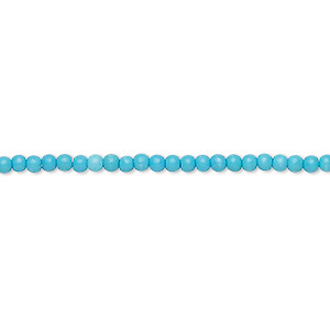 bead, turquoise (imitation), blue, 2mm round. sold per 16-inch strand.
