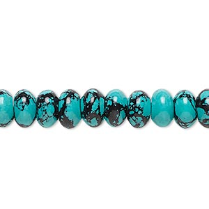 bead, turquoise (imitation), blue and black, 8x5mm rondelle. sold per 8-inch strand, approximately 40 beads.