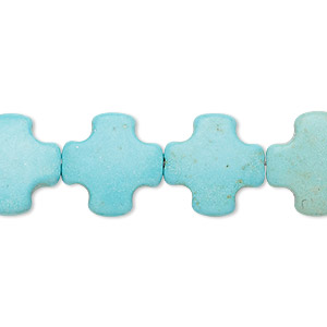 bead, turquoise (imitation), blue-green, 15x15mm puffed swiss cross. sold per 15-inch strand.