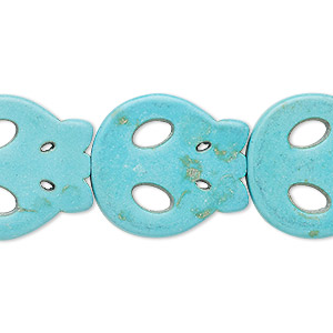 bead, turquoise (imitation), blue-green, 23x21mm flat skull. sold per 15-inch strand.