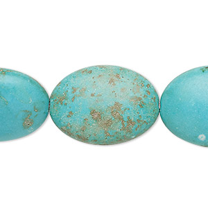 bead, turquoise (imitation), blue-green, 24x18mm-25x19mm puffed oval. sold per 15-inch strand.