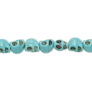 bead, turquoise (imitation), blue-green, 8x6mm skull. sold per 15-inch strand.