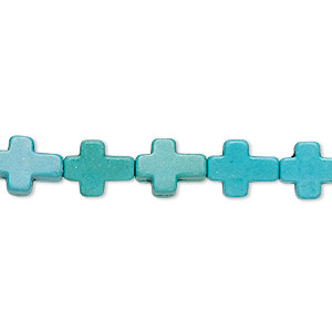 bead, turquoise (imitation), blue-green and green, 10x9mm flat cross. sold per 15-inch strand.