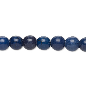 bead, turquoise (imitation), dark lapis blue, 7-8mm round. sold per 15-inch strand.