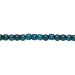 bead, turquoise (imitation), dark teal blue, 3-4mm round. sold per 15-inch strand.