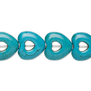 bead, turquoise (imitation), dark teal green, 15x15mm open heart with 4x4mm center hole. sold per 15-inch strand.