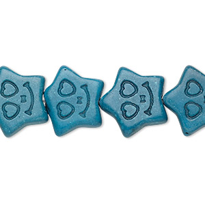 bead, turquoise (imitation), dark teal green, 16x15mm-17x16mm carved flat star. sold per 15-inch strand.