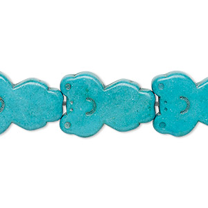 bead, turquoise (imitation), dark teal green, 22x15mm-23x15mm carved frog. sold per 15-inch strand.