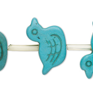 bead, turquoise (imitation), dark teal green, 30x20mm carved flat duck. sold per pkg of 15 beads.