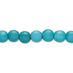 bead, turquoise (imitation), dark teal green, 7-8mm puffed flat round. sold per 15-inch strand.