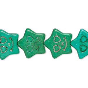 bead, turquoise (imitation), kelly green, 16x15mm carved flat star. sold per 15-inch strand.