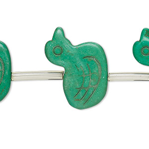 bead, turquoise (imitation), kelly green, 21x18mm-30x21mm carved flat duck. sold per pkg of 13 beads.