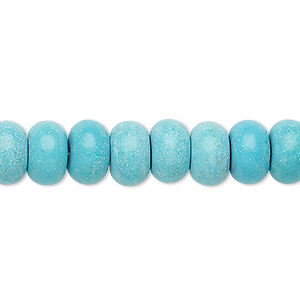 bead, turquoise (imitation), light blue, 10x6mm rondelle. sold per 8-inch strand.