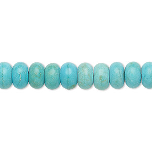 bead, turquoise (imitation), light blue, 8x5mm rondelle. sold per 7-inch strand.